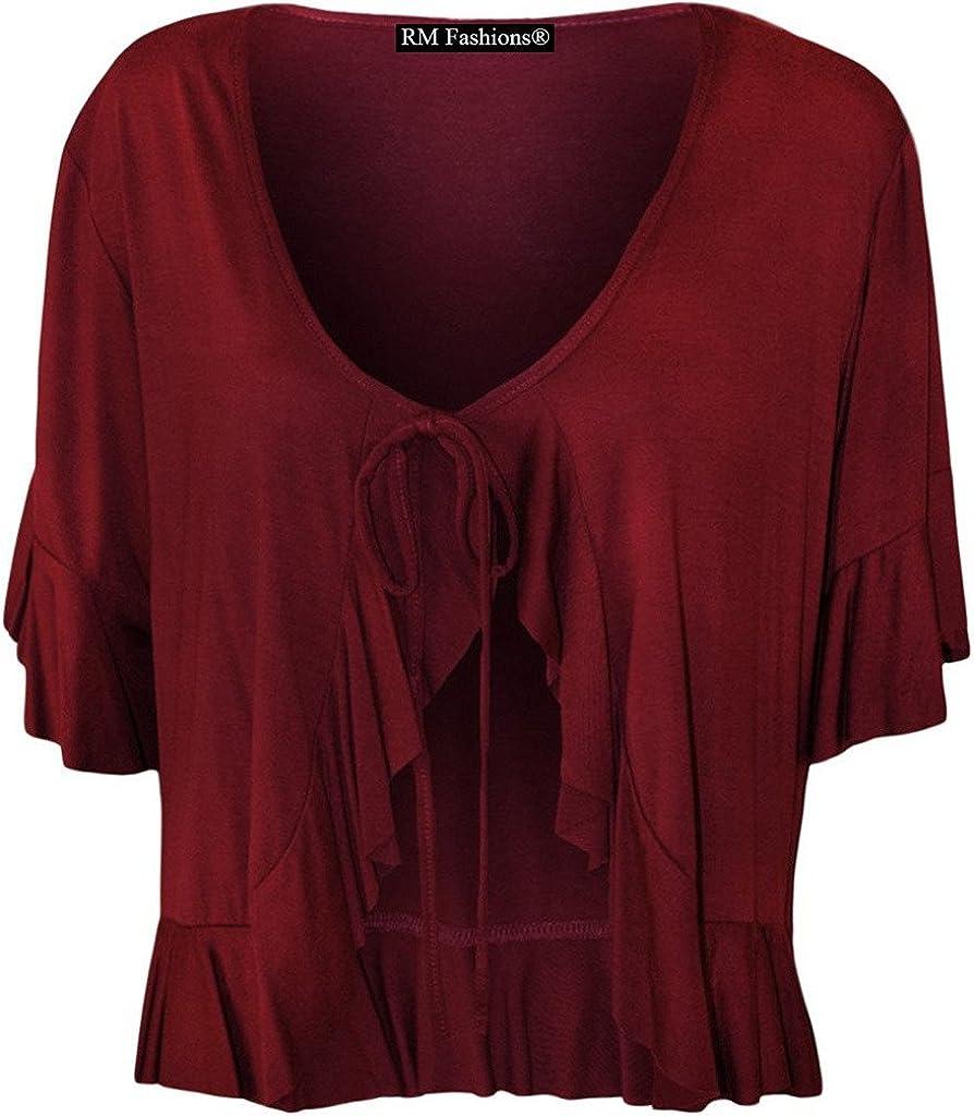 RM Fashions Women's Plus Size Frill Tie Bolero Shrug Cardigan - Wine - US 14 (UK 18)