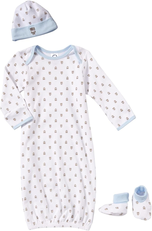 Gerber Baby-Boys Newborn Gown Starter Set Gown Cap and Booties Bears, Brown, 0-6 Months