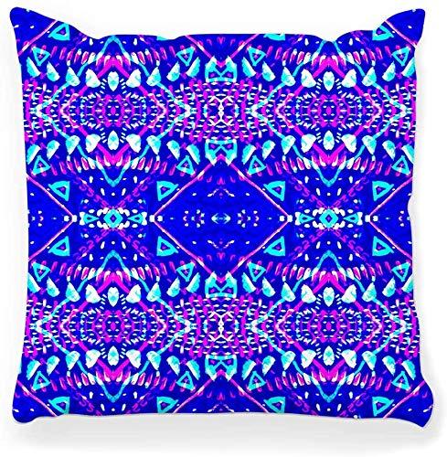 Funda de Almohada Decorativa Cuadrada 20x20 Tie Dye Indigo Shibori Print Pattern Japanese Batik Azulejo Tejido Arte Abstracto Artístico Tela Azul Decoración del hogar Funda de Almohada con Cremallera