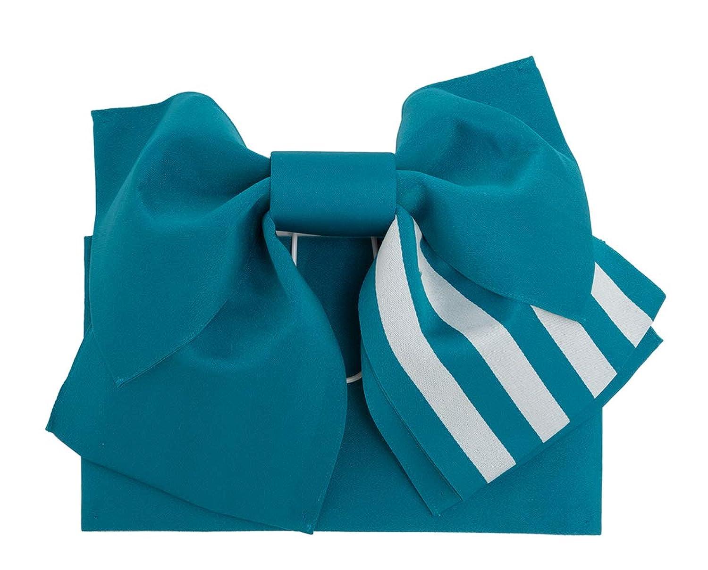 (ソウビエン) 作り帯 青系 孔雀青色 縞 リバーシブル リボン型 浴衣向け 夏祭り 簡単 初心者向け レディース
