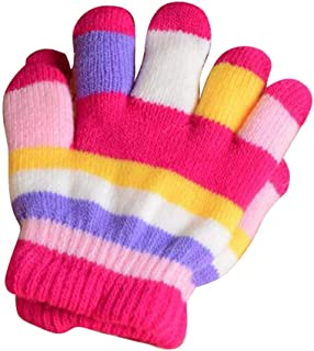 Winter Warm Mittens for Kids, Colorful Five-Finger Gloves(2-6 Years Old), E02