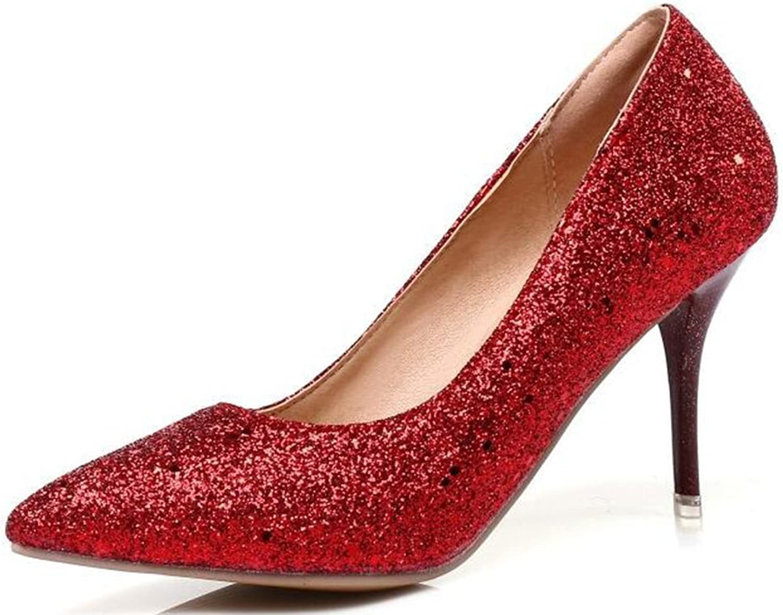 IDIFU Women's Glitter Sequined High Heels Stiletto Slip On Pointy Pumps