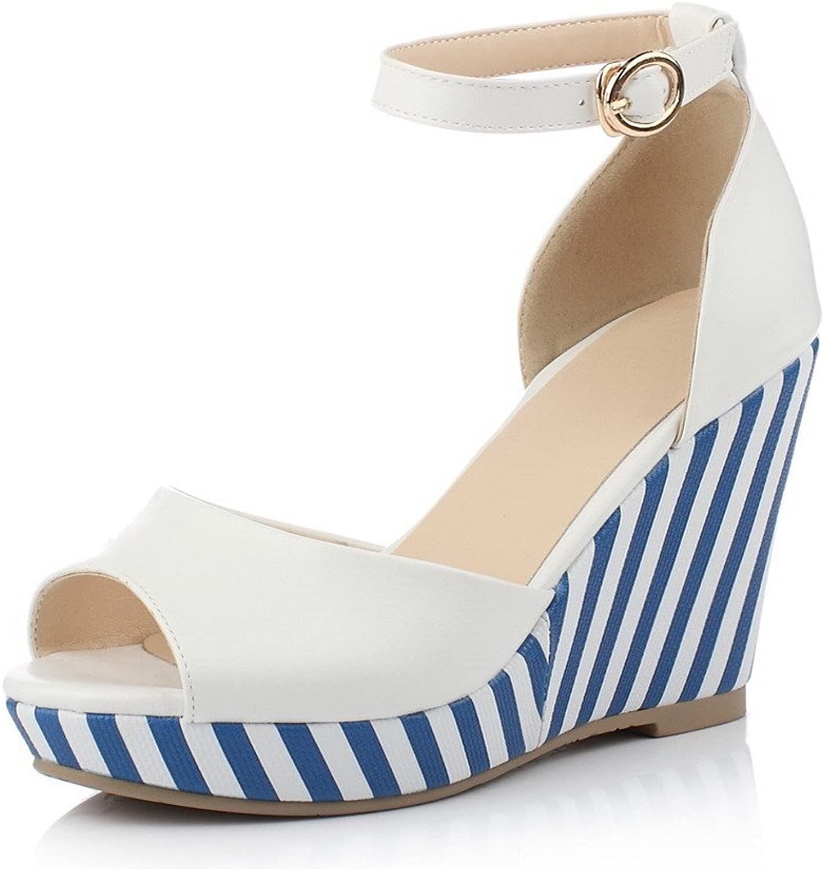 AmoonyFashion Women's Soft Material Peep-Toe High-Heels Buckle Stripe Sandals