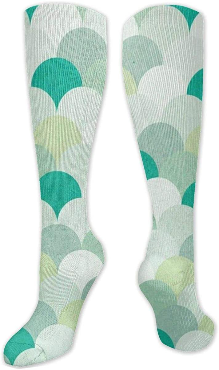 Light Green Mermaid Scales Knee High Socks Leg Warmer Dresses Long Boot Stockings For Womens Cosplay Daily Wear