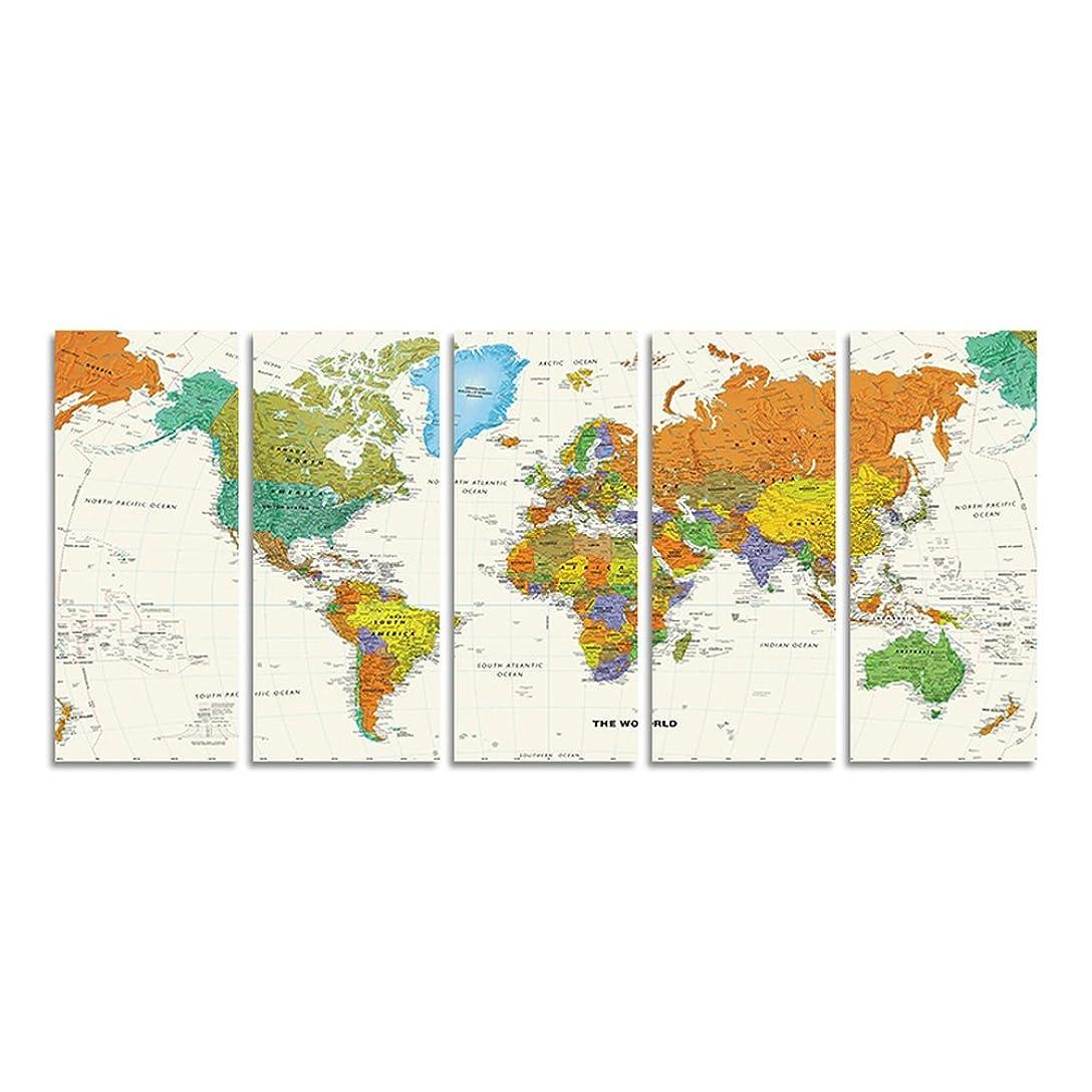 肌寒い憂鬱土曜日CrmaOArt - ナショナルジオグラフィックスーパー HD世界地図ウォールアートステッカー印刷の写真リビングルームの壁のポスター 家の装飾のため[25cm x 60cm x 5 パネル、木枠付きの完成品]
