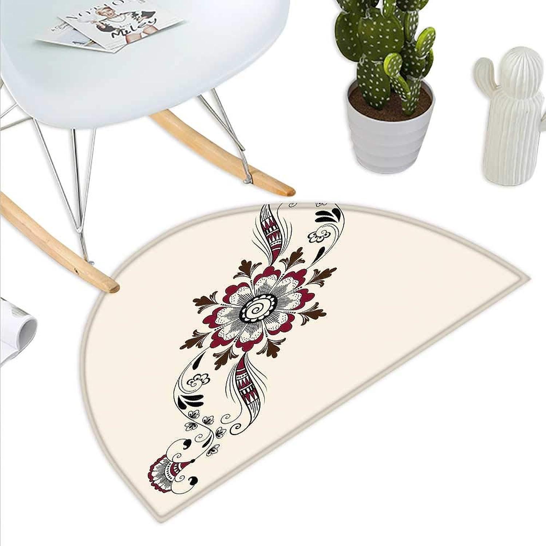 Henna Semicircle Doormat colorful Floral Pattern Asian Mehndi Arrangement Nature Inspired Abstract Halfmoon doormats H 43.3  xD 64.9  Maroon Brown Black