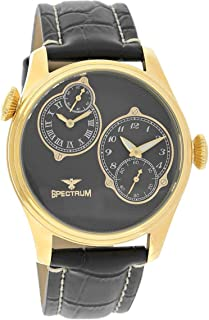 Spectrum Men's Gold Case Black Dial Dual Time Dress Watch