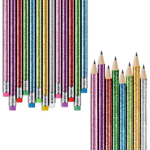 112 Pieces Colorful Round Glitter Pencils Bright Colored Wood Pencils with Top Eraser for Coloring Book Drawing Art Supplies
