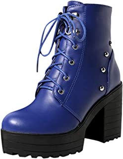 Shoes for Women, Dress Work Shoes Women, Women's Chunky Heel Boots in British Style Almond Shaped Toe Black Blu Boots for Women Non Slippery FULLSUNNY