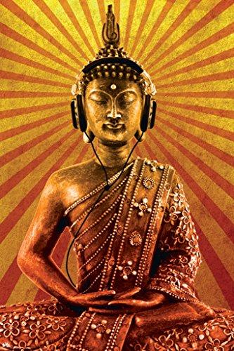 Buddha Buddah Wearing Headphones Decorative Music Urban Art Framed Poster Print (Unframed 24 x 36 Poster)