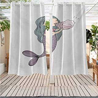 DONEECKL Mermaid Grommet Outdoor Curtains Fairytale Character with a Seashell Mythological Underwater Cheerful Childhood Gazebo W72 x L84 inch Multicolor