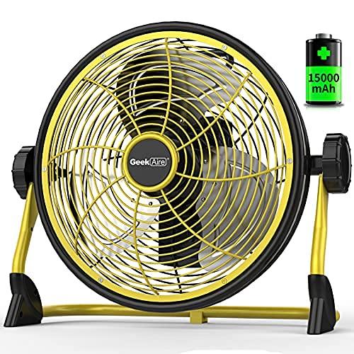Geek Aire 屋外扇風機 業務用扇風機 工場扇 工業扇 IPX4防水 充電可能な屋外ファン 家庭ファン 空気循環金属の羽根付き30cm(12インチ) 大容量15000 mAh 風量5段階調節 24時間に及ぶキャンプハリケーンの運行時間