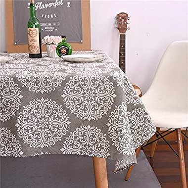 ColorBird Grey Medallion Tablecloth Cotton Linen Dust-proof Table Cover for Kitchen Dinning Tabletop Linen Decor (Rectangle/Oblong, 55 x 86Inch)