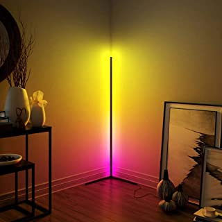 New Minimalist LED Corner Floor Lamp ,Colorful Bedroom Living Room Floor Lamp Bar Atmosphere Lamp-Colour Changing (Black)
