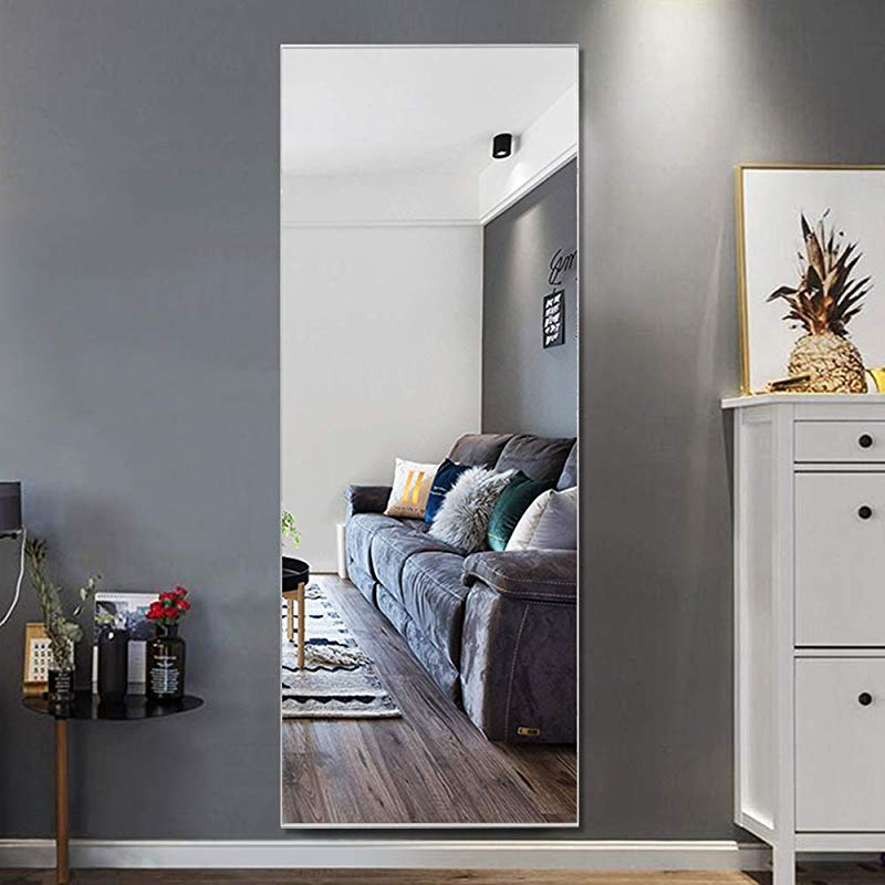 Trvone Full Length Mirror Floor Mirror Large Rectangle Bedroom Mirror Dressing Mirror Wall Mounted Mirror Standing Hanging Or Leaning Against Wall 65 X22 Silver