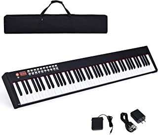 $199 » Costzon BX-II 88-Key Portable Weighted Digital Piano, Upgraded Electric Keyboard with MIDI/USB Keyboard, Bluetooth Function, Dynamics Adjustment, Sustain Pedal, Power Supply, and Black Handbag (Black)