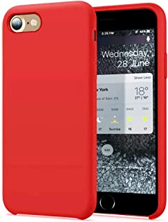 """KUMEEK iPhone 8 Case/iPhone 7 Case Slim Silicone Gel Rubber Case with Soft Microfiber Cushion Protection Shockproof Cover Case Drop Protection for iPhone 7/ iPhone 8(4.7"""")-Red"""
