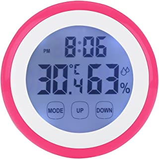 LAFEINA Digital Thermometer Hygrometer Clock, Temperature Humidity Monitor Alarm Clock Touch Screen with Backlight Magnetic Back for Home Office Baby Room (Hot Pink)