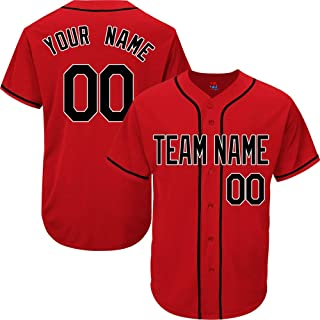 Red Custom Baseball Jersey for Men Women Youth Practice Embroidered Black Gold