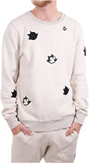 Scotch & Soda Men's Felix AMS Blauw Colab Sweat with Appliques and Embroidery Sweatshirt