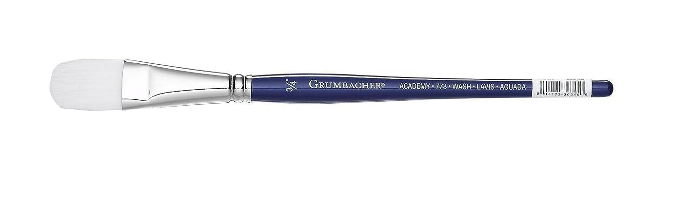 Grumbacher Academy Watercolor Oval Wash Brush, White Nylon Bristles, 3/4