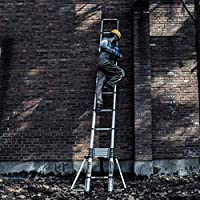 家具装飾アルミニウム伸縮はしご、滑り止め8フィートホームロフトオフィスエンジニアリングエクステンションはしご11.48ft 20.64ft荷重150kg(サイズ:5.9m / 19.36ft)