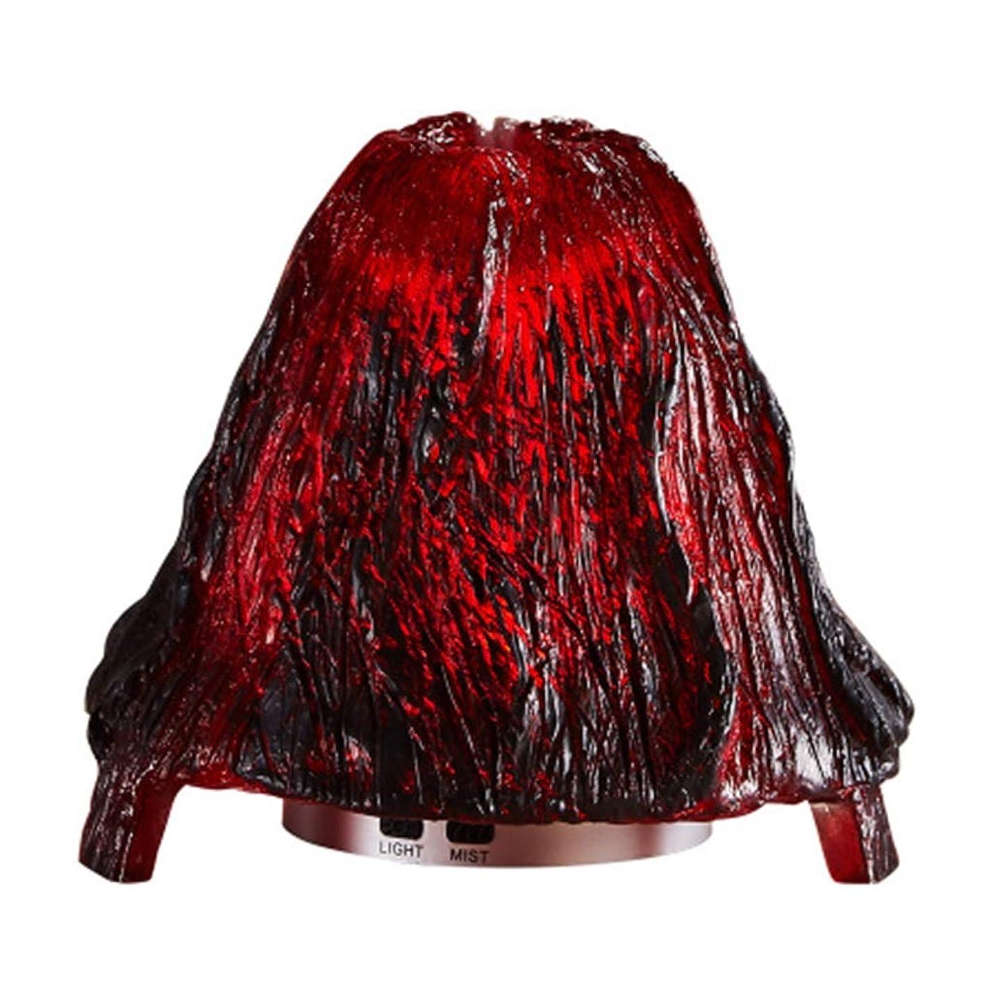 優越黄ばむリルクールミスト加湿器ミスト100mlディフューザーディフューザー7色LEDライト/ウォーターレス自動シャットダウン(火山) (Color : Red)