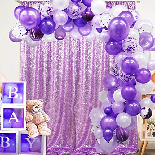 135 Pieces Purple Balloon Arch Garland Kit, Purple White Confetti Balloons for Wedding Birthday Graduation Party Decorations