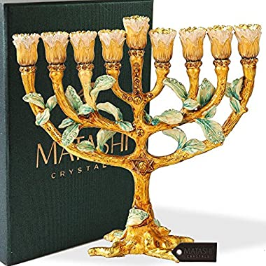 Hand Painted Enamel Menorah Candelabra Embellished with Gold Accents and Crystals by Matashi (Tree of Life)