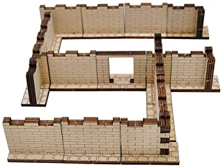 "Dungeon Brick Walls (Set of 16) Wood Laser Cut 2"" x 1"" 3D Modular Terrain Tiles 28mm Scale Perfect for D&D, Dungeons & Dra..."