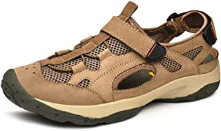 XueQing Pan Sandals for Men Outdoor Water Shoes Slip On Style OX Leather and Mesh Anti-Collision Toe Lace Decor (Color : Khaki, Size : 6 UK)