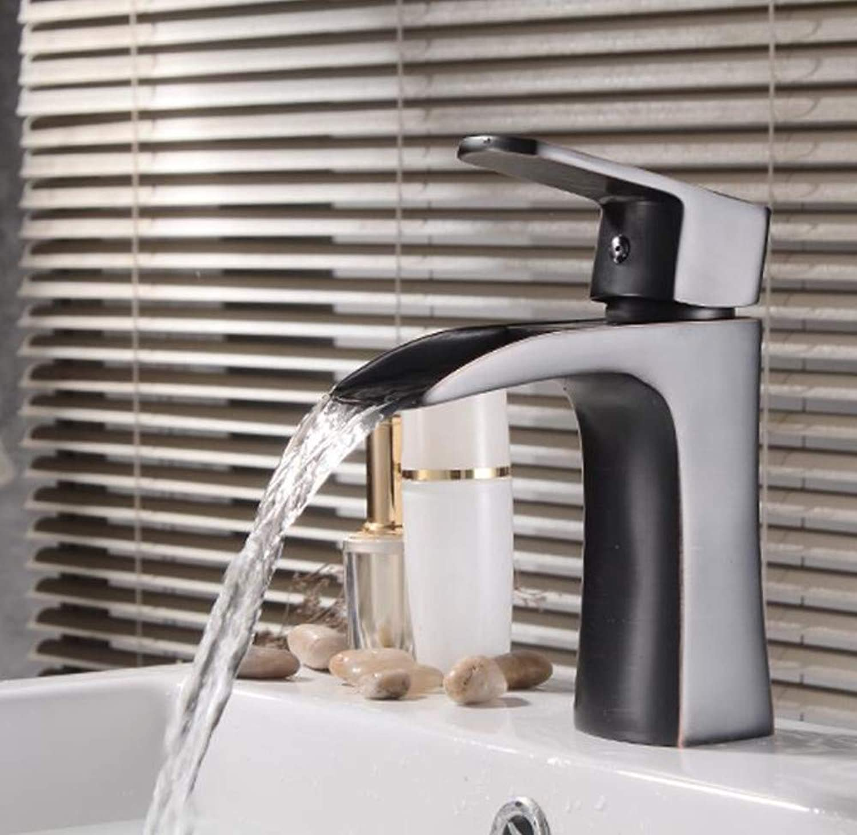Bathroom Waterfall Basin Faucet Brass Black Deck Mounted Cold Hot Bathroom Faucet Sink Mixer Water Crane Tap