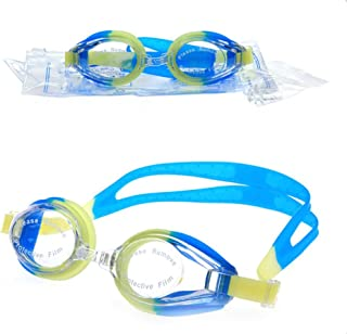 Bullidea 1X Unisex Anti Fog Waterproof UV Protection Silicone Swimming Goggles for Adults-Blue and Yellow