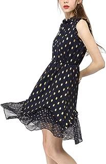 Allegra K Women's Dot High Neck Sleeveless Metallic Print Ruffle Cocktail Party Dress