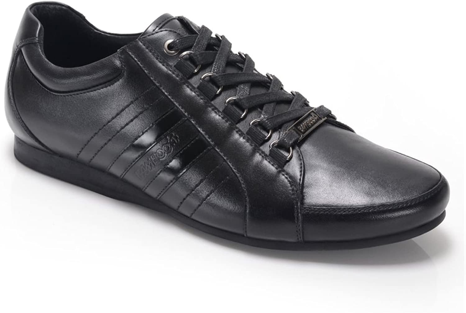 Bamboo A CARDUCCI Mens Leather Lace Up Trainer shoes Black