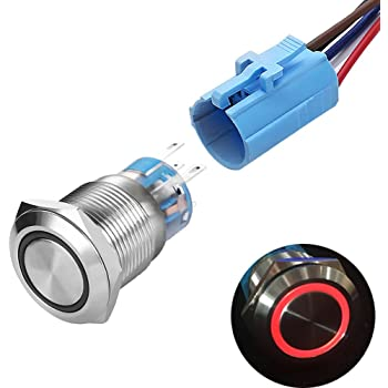1PC 16mm waterproof red momentary metal push button switch flat top TC