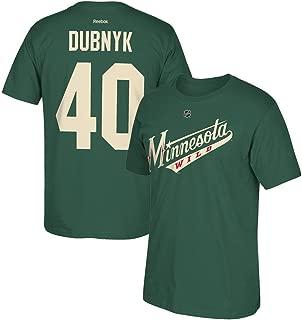 adidas Devan Dubnyk Reebok Minnesota Wild Player Premier N&N Green Jersey T-Shirt Men's