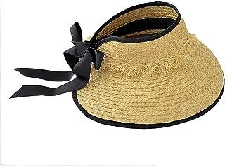 Hats Wide Brim Hand-Woven Raffia Foldable Empty Top Hat UV Protection Beach Cap Women's Fashion (Color : Beige, Size : Free Size)