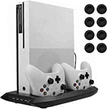 Best Lictin Xbox One S Vertical Stand Cooling Fan with Dual Charging Station for 2 Xbox One S Controllers + 8 Silicone Thumbs for Xbox One S Controller Black Review