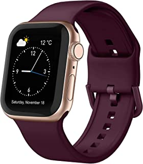 Adepoy Compatible with apple Watch Bands 44mm 42mm 40mm 38mm, Soft Silicone Sport Wristbands Replacement Strap with Classi...
