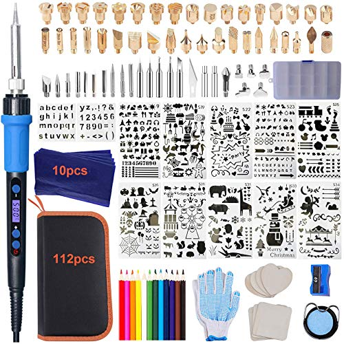 112PCS Calegency Wood Burning Kit-Wood Burning Tool Set with Digital LCD Display Pyrography Pen Adjustable Temperature and Embossing/Carving/Soldering/Engraving Tips for Wooden Crafts