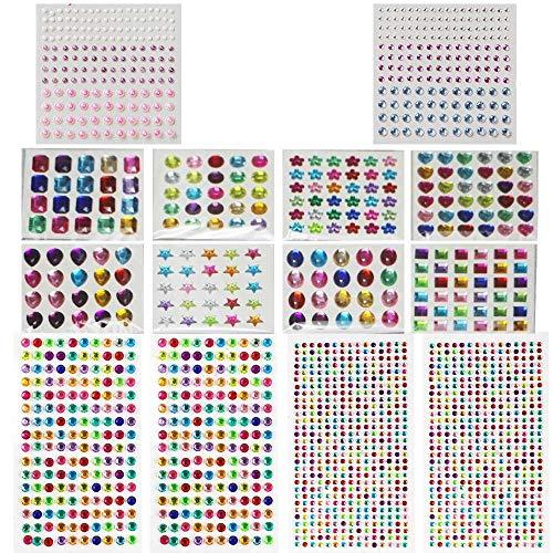 1782 Pcs 14 Hojas de Piedras Brillantes Autoadhesivas para Pegar, Joyas, Pegatinas, Marcos de Fotos, Tarjetas de felicitación, en Diferentes tamaños