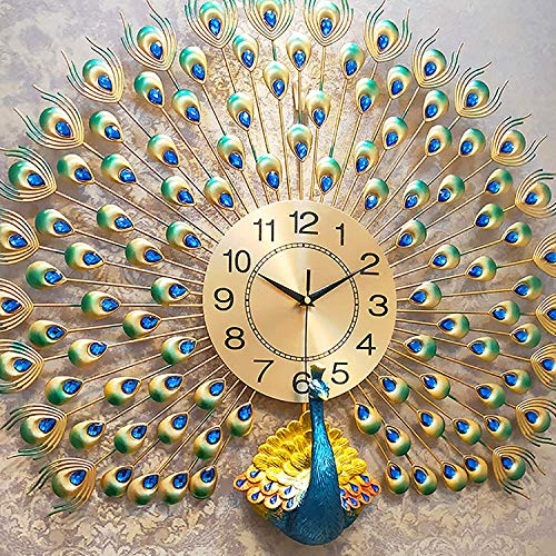 ZHIRCEKE Home Decoration European Peacock Wall Clock, Crystal Living Room Clock Creative Personality Art Bedroom Kitchen Peacock Home Decorative Mute