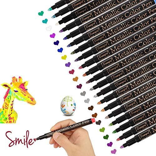 Vegena Metallic Stifte, Permanent Marker Set 20 Farben Metallischen Stift Pens für DIY Fotoalbum...