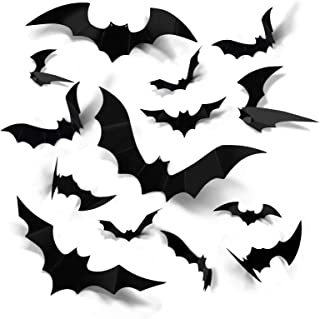Coogam Halloween 3D Bats Decoration, 60PCS 4 Sizes Realistic PVC Scary Bats Window Decal Wall Stickers for DIY Home Bathro...