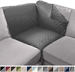Sofa Shield Original Patent Pending Reversible Sofa Corner Sectional Protector, 30x30 Inch, Washable Furniture Protector, 2 Inch Strap, Sectional Corner Slip Cover Throw for Pets, Dogs, Charcoal