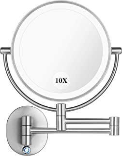 """Pansonite LED Wall Mount Makeup Mirror with 10x Magnification, 8.5'' Double Sided 360° Swivel Vanity Mirror with 13.7"""" Ext..."""