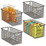 mDesign panier de rangement en fil de fer (lot de 4) – boîte en métal pour la cuisine, le garde-manger, etc. – panier en métal compact multi-usage avec poignées – couleur bronze