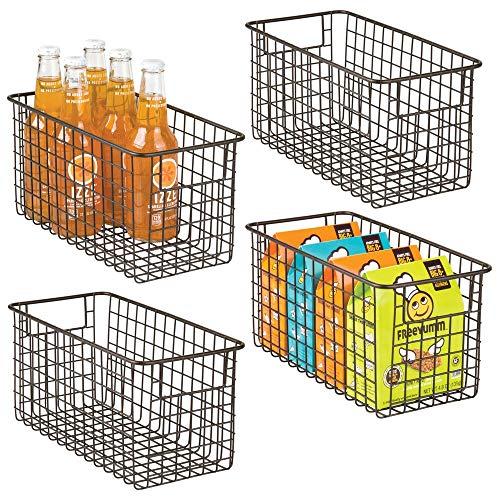 mDesign panier de rangement en fil de fer (lot de 4) – boîte en métal pour la cuisine, le garde-manger, etc. – panier en métal...