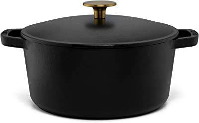 Milo Cast Iron Covered Dutch Oven, Enameled in Black, 3.5-quart with lid, by Kana